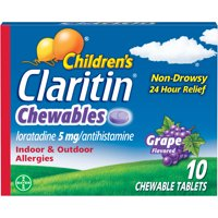 Claritin Allergy Medicine for Kids, Grape Chewable Antihistamine Tablets, 10 Ct