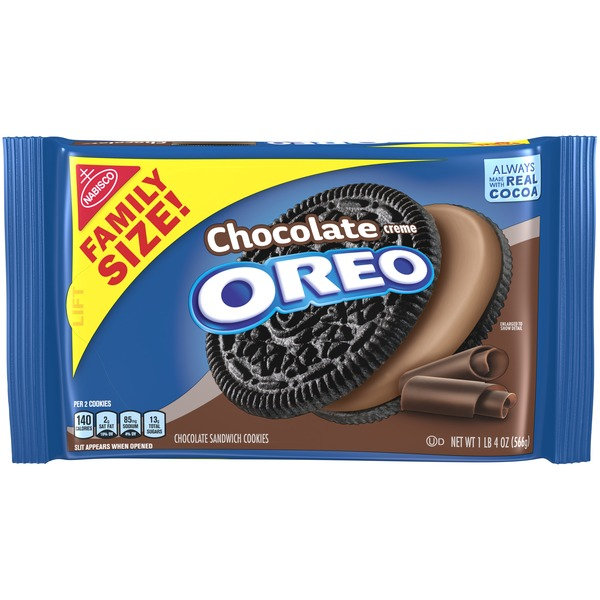 Oreo Chocolate Sandwich Cookies, Chocolate Flavored Creme, 1 Resealable Family Size Pack