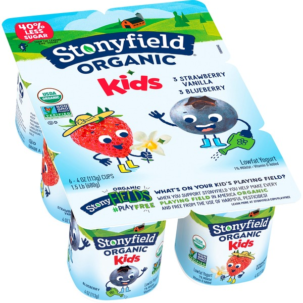 Stonyfield® Organic Kids Blueberry & Strawberry Vanilla Lowfat Yogurt Variety Pac