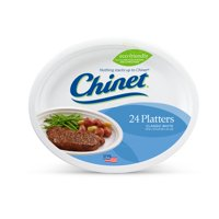 """Chinet Classic White Platter Plates, 12 5/8x10"""", 24 Count"""