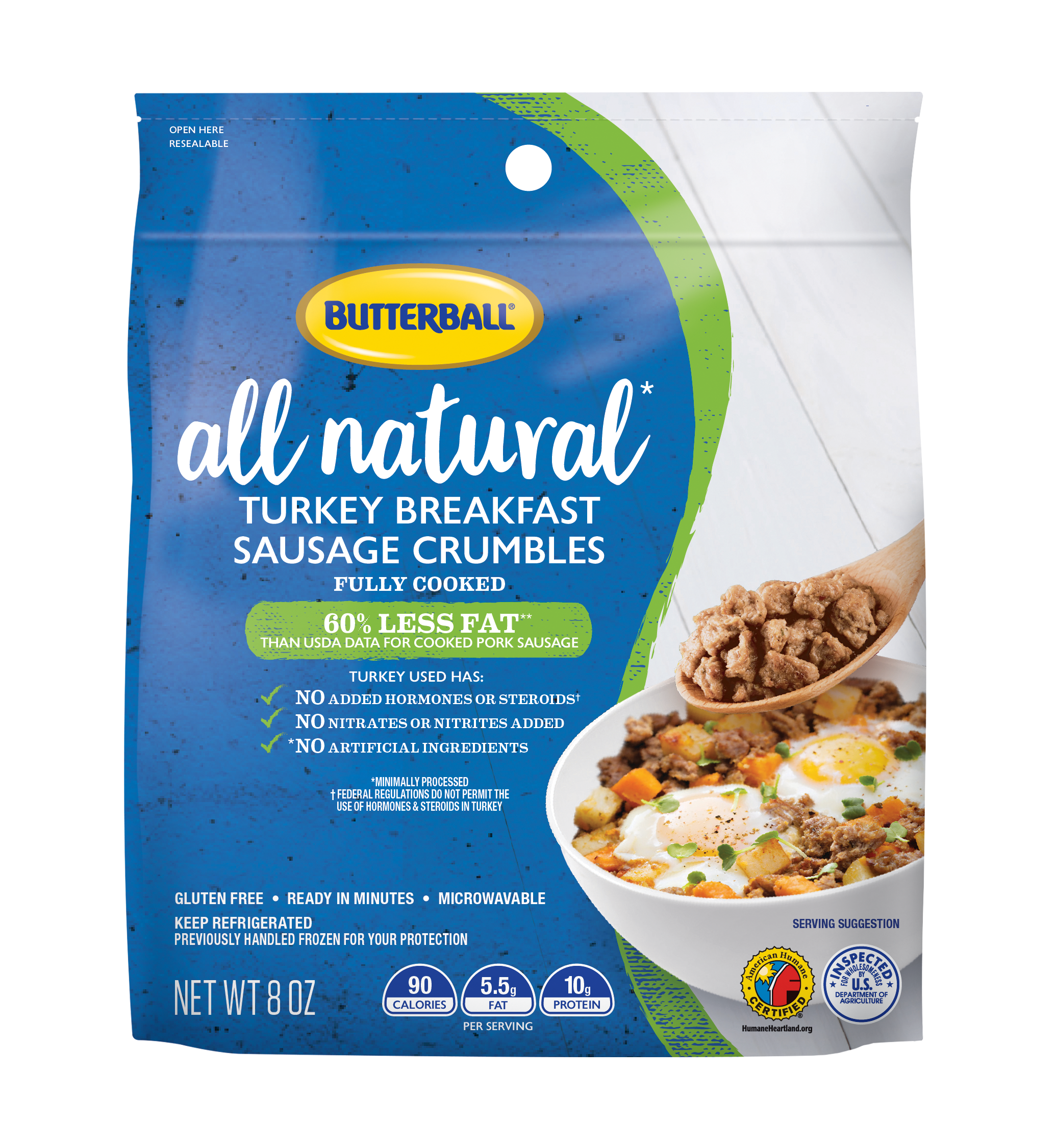 Butterball® All Natural Turkey Breakfast Sausage Crumbles, 8 oz. Bag