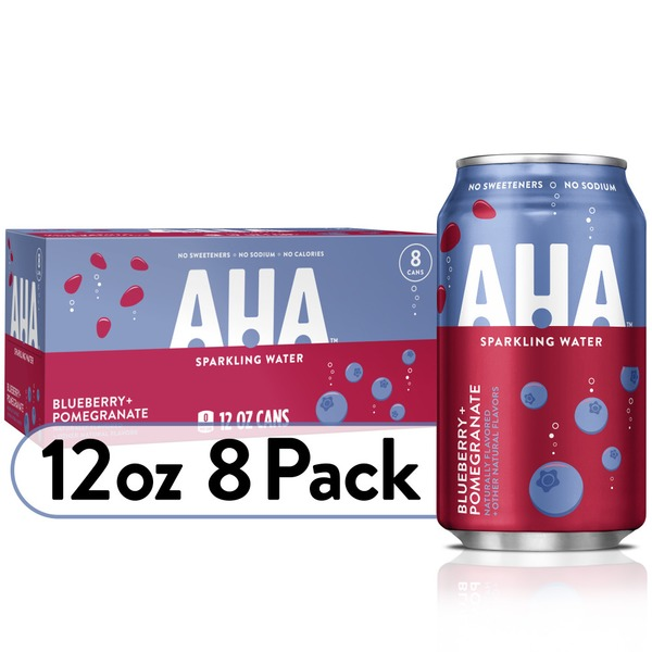 Aha Sparkling Water, Blueberry Pomegranate Flavored Water, Zero Calories, Sodium Free, No Sweeteners