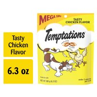 TEMPTATIONS Classic Crunchy and Soft Cat Treats Tasty Chicken Flavor, 6.3 oz. Pouch