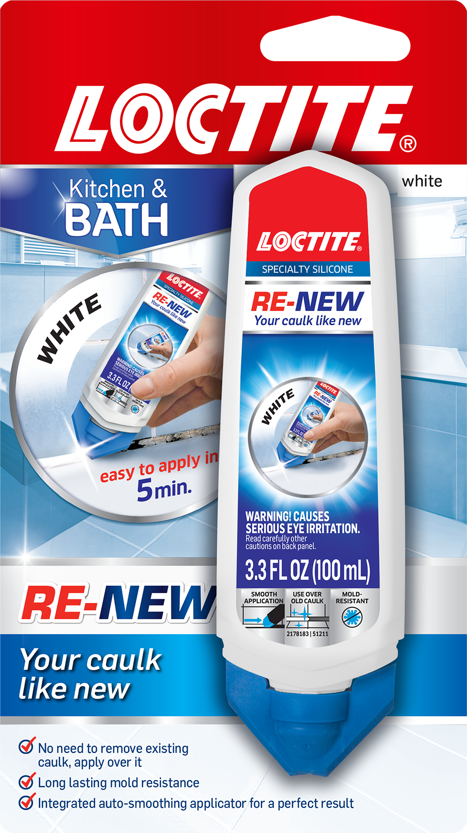 Loctite RE-NEW Specialty Silicone Sealant for Kitchen & Bath, White, 3.3-Ounce Squeeze Tube