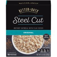 Better Oats Steel Cut Original Instant Oatmeal with Flax Seeds