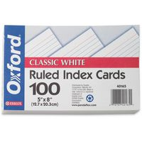 Oxford Index Cards, Ruled, 5x8 Inch, White