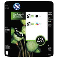 HP 61XL High Capacity Black/Tri-color Ink Cartridges, 2 ct