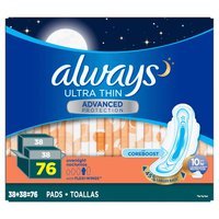 Always Ultra Thin Advanced Overnight Pads, 76 ct