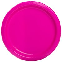 """9"""" Neon Pink Party Plates, 55ct"""