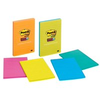 Post-it Super Sticky Notes, 4 in. x 6 in., Assorted Bright Colors, Lined, 3 Pads/Pack, 45 Sheets/Pad