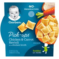 Gerber Pasta Pick-Ups, Chicken and Carrot Ravioli Packed in Chicken Broth, 6 oz. Tray