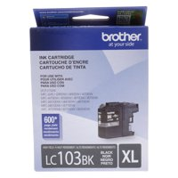 Brother Genuine High Yield Black Ink Cartridge, LC103BKW, Replacement Black Ink, Page Yield Up To 600 Pages, LC103