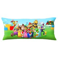 Super Mario Body Pillow Cover with Zipper, Kids Bedding, 20 x 54, Mario Mashup