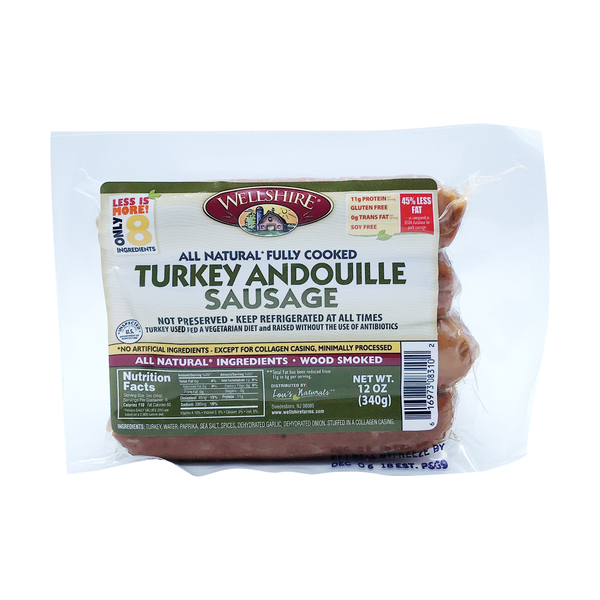 Wellshire Turkey Andouille Sausage, 12 oz