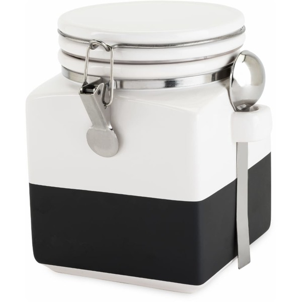 Twine White Chalk Dipped Ceramic Canister With Spoon