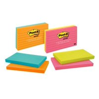 Post-it Lined Sticky Notes Twin Pack, 3in. x 5in., Cape Town Collection, (Colors May Vary)