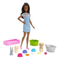 Barbie Play 'n Wash Pets Playset with Brunette Barbie Doll and 3 Color-Change Animal Figures