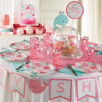 Pink Baby Whale Party Supplies Collection