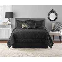 Mainstays Cougar Burnout Velvet Ogee 7-Piece Comforter Set, King, Black