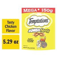 TEMPTATIONS Jumbo Stuff Crunchy and Soft Cat Treats Tasty Chicken Flavor, 5.3 oz. Pouch