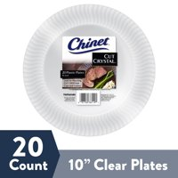 """Chinet Cut Crystal Clear Plastic Plates, 10"""", 20 Count"""