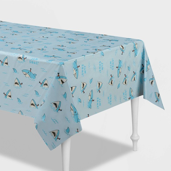 """54""""x84"""" Shark Printed Plastic Table Cover Blue - Spritz™"""