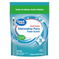 Great Value Automatic Dishwasher Pacs, Fresh Scent, 12 Count