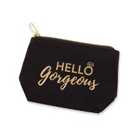 "6ct ""Hello Gorgeous"" Canvas Makeup Bag"