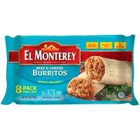 El Monterey Beef and Cheese Burritos, Authentic Mexican Recipe Frozen Burritos, 8 Count Bag