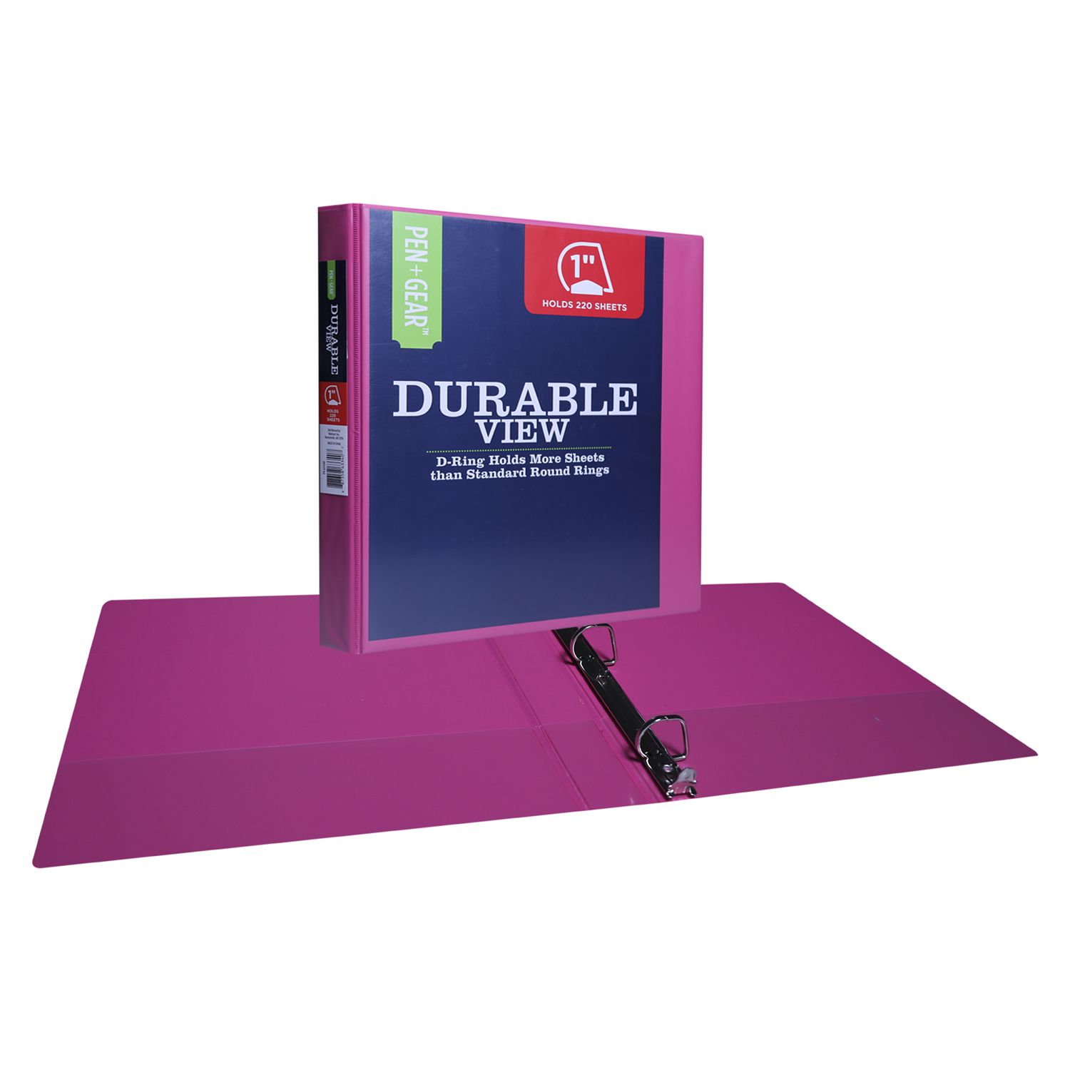 Pen + Gear Durable View 3-Ring Binder with 1-inch Slant D Rings (Pink)