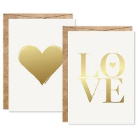 2ct Heart Sahped Love Foil Art Cards Gold