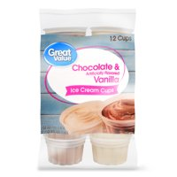 Great Value Chocolate & Vanilla Ice Cream Cups, 36 oz, 12 Count