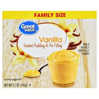 Great Value Instant Pudding & Pie Filling, Family Size, Vanilla, 5.1 oz