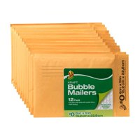 Duck Brand Kraft Bubble Mailers, #0, (6 In. x 9 in.), Self-Sealing, 12-Count
