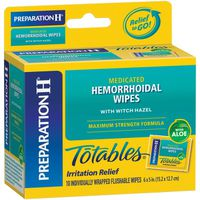 Preparation H Totables Medicated Hemorrhoidal Wipes with Witch Hazel
