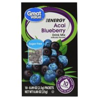 Great Value Sugar-Free Energy Acai Blueberry Drink Mix, 0.88 Oz., 10 Count