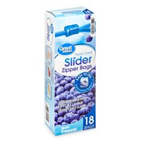 Great Value Slider Zipper Freezer Bags, Quart, 18 Count