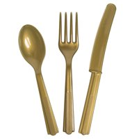 Assorted Plastic Silverware for 8, Gold, 24pc