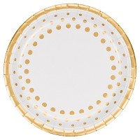 "Sparkle and Shine Gold Foil 9"" Paper Plates - 8ct"