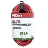 Hyper Tough 25ft SJTW 14/3 Red Triple Outlet Cord