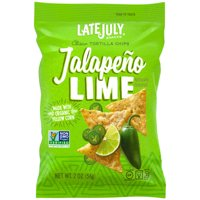 LATE JULY Snacks Clásico Jalapeño Lime Tortilla Chips, 2 oz. Snack Pack