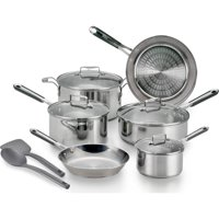 T-Fal Expertpro Techno Release Stainless Steel Induction Compatible Silver Cookware Set, 12 Piece