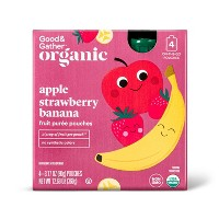 Organic Apple Strawberry Banana Fruit Pouches - 4ct - Good & Gather™
