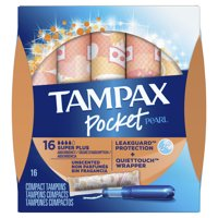 TAMPAX Pocket Pearl, Super Plus, Plastic Tampons, Unscented, 16 Count