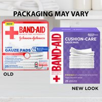 Band-Aid Brand Cushion Care Gauze Pads, Large, 4 in x 4 in, 25 ct