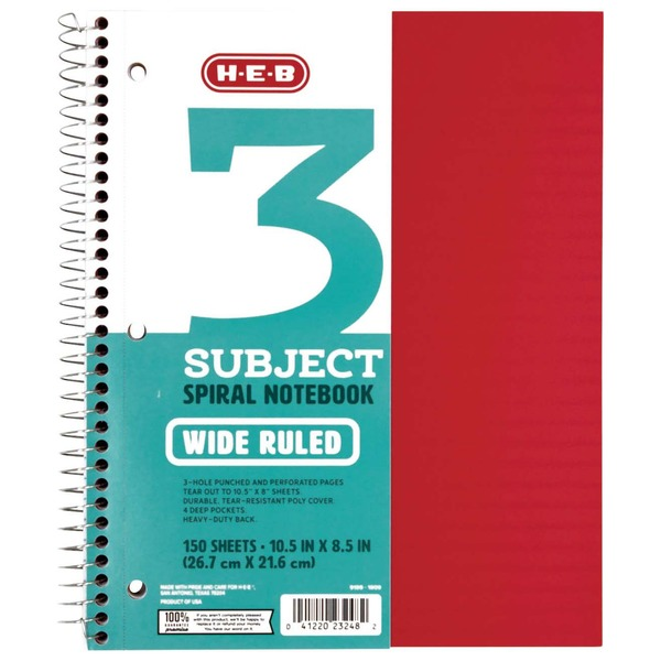 H-E-B Subject Red Poly Wide Ruled Notebook