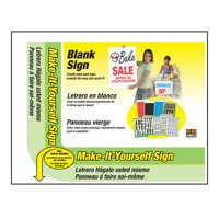 """Hy-Ko 14"""" x 18"""" Corrugated Plastic White Make Your Own Sign with Two Metal Ground Stakes"""