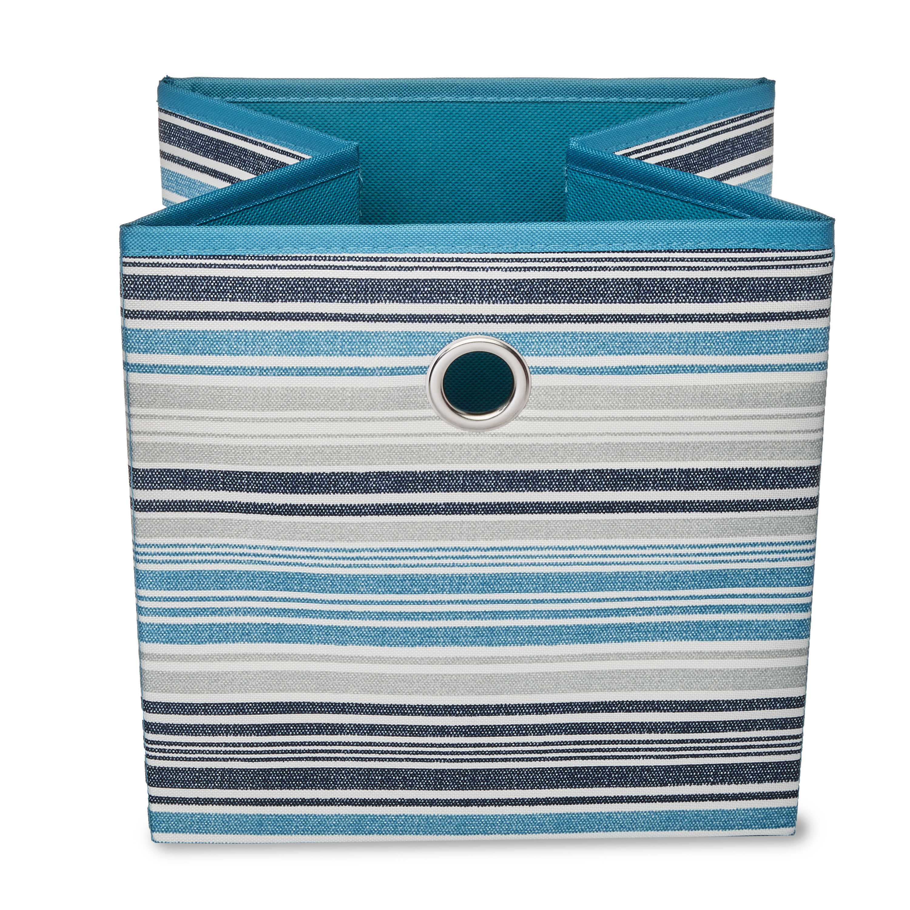 Mainstays Collapsible Fabric Cube Storage Bin, Striped Cool Water