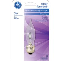 GE 3 watt Crystal Clear Flicker Flame Incandescent Bulb, 1 Pack