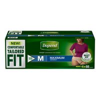 Depend Women's Tailored Fit Maximum Medium, 88 ct